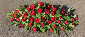Coffin Arrangement in Red Roses And Mixed Foliage, Florist, Radcliffe