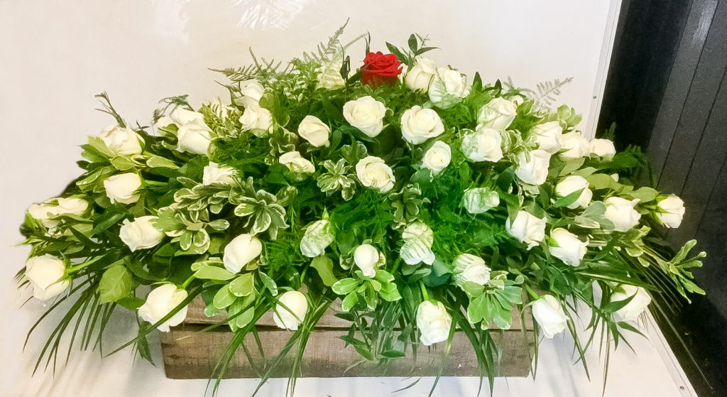 Coffin Arrangement with White Roses And The Added Touch Of A Single Red Rose, Florist, Radcliffe