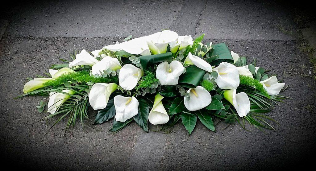 White Coffin Arrangement | Calla Lilies | Mixed Foliage | Florist | Radcliffe