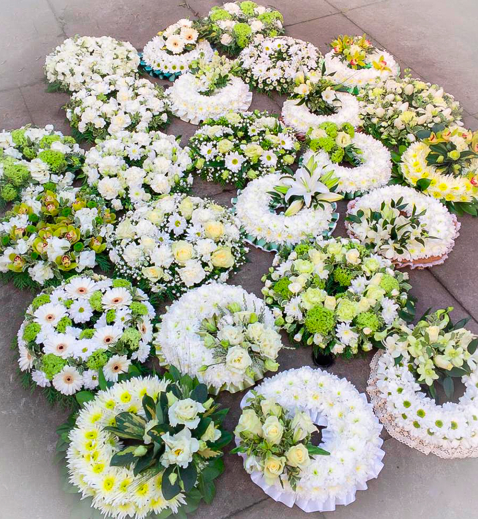 Wreath Mixed Designs Green, White, Funeral, Radcliffe Florist