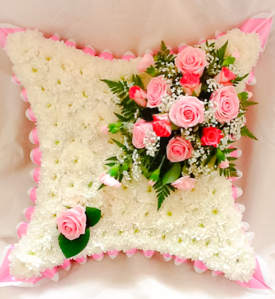 Blocked Cushion Pink White, Funerals, Fresh Flowers, Radcliffe Florist