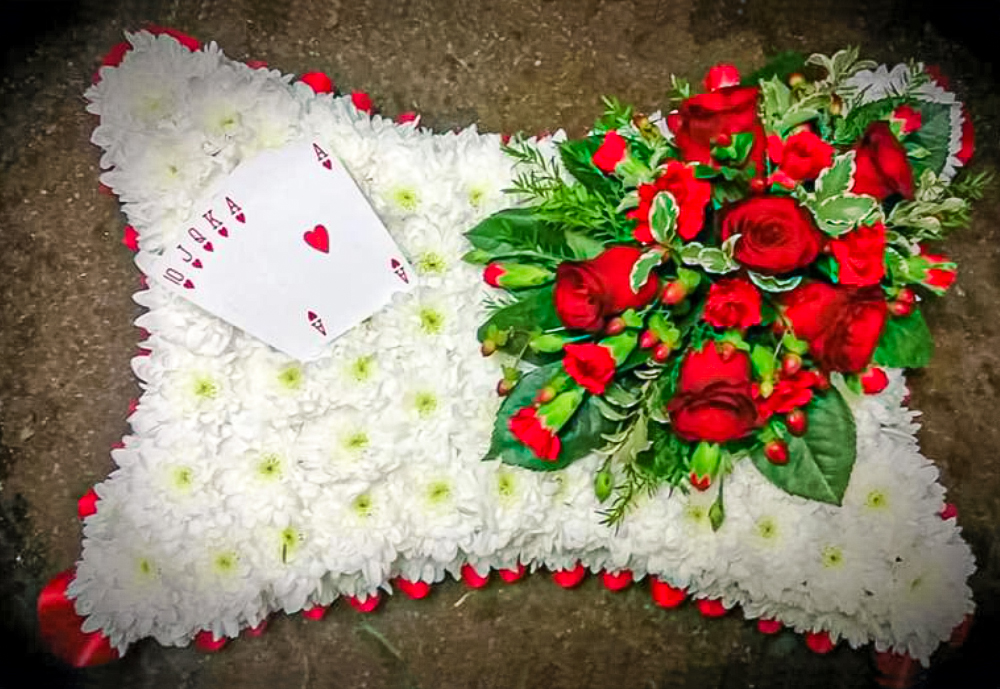 Blocked Cushion, Red, White, Playing Cards, Funeral, Fresh Flowers