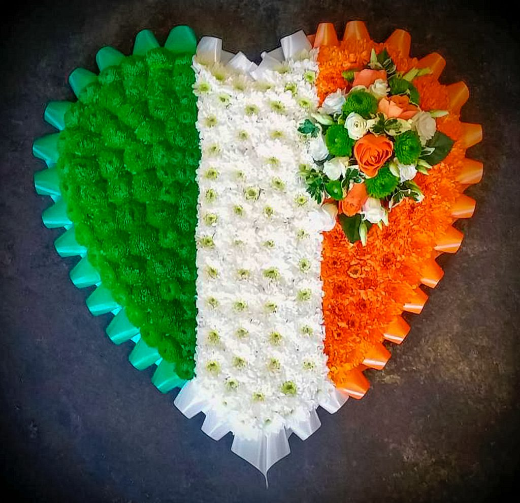 Blocked Heart Irish colours, Flag, Funeral, Florist, Radcliffe, Flowers