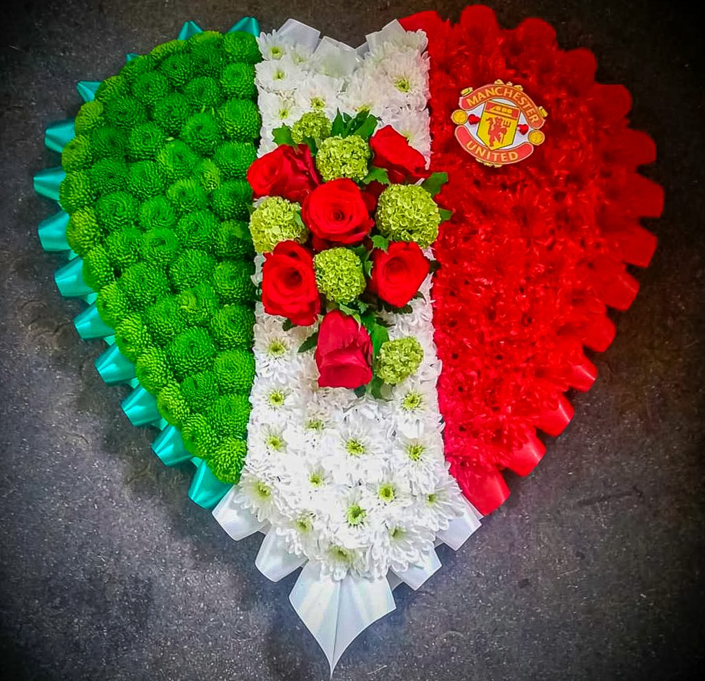 Blocked Heart Italian Flag, Radcliffe Florist, Funeral, Fresh Flowers