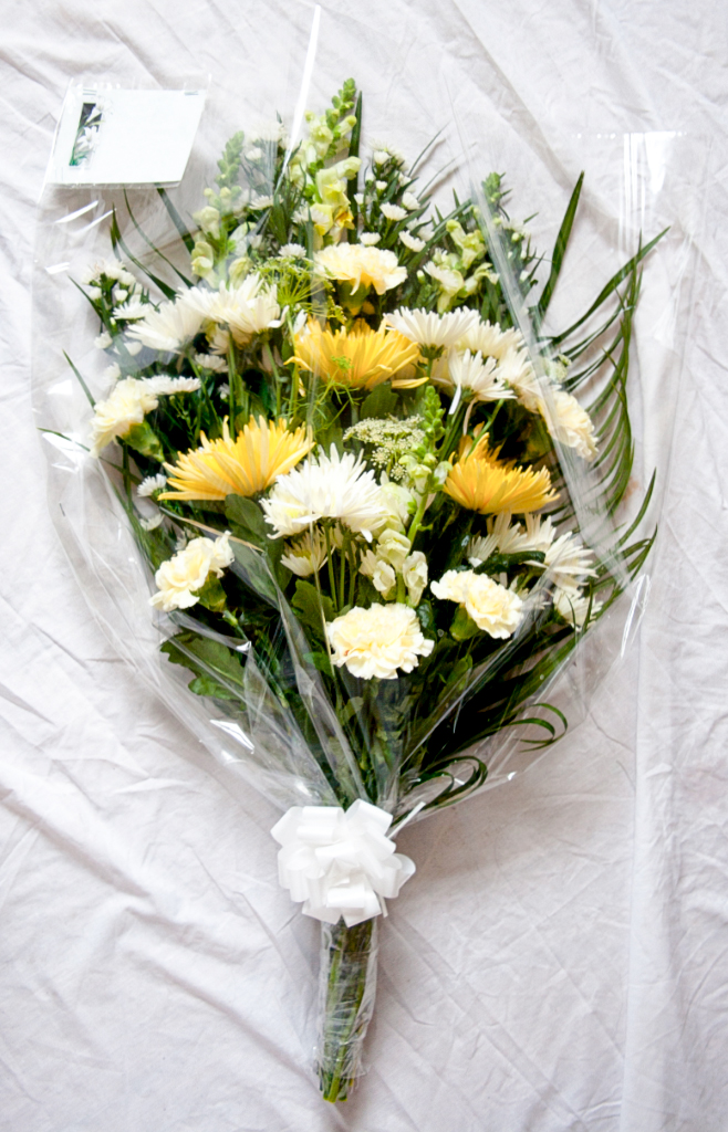 Cellophane Spray in White and Lemon, Radcliffe Florist, Flowers