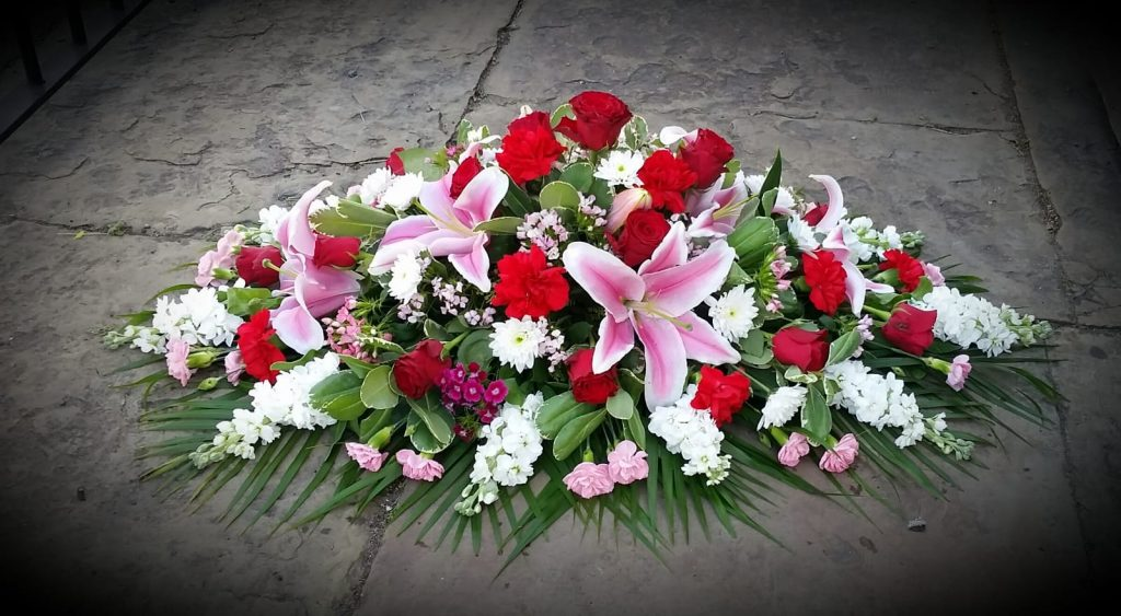 Coffin Arrangement Pink Oriental Lilies, Roses