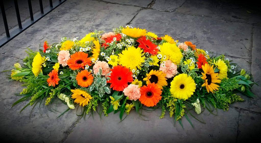 Coffin Arrangement, Sun Flowers, Chrysanthemum, Gerbera, Florist