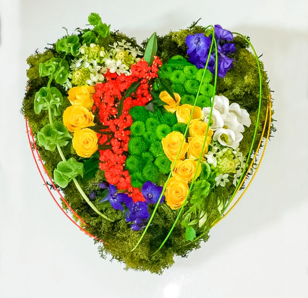 Contemporary Heart Mixed Colours Funeral Radcliffe Florist, Flowers