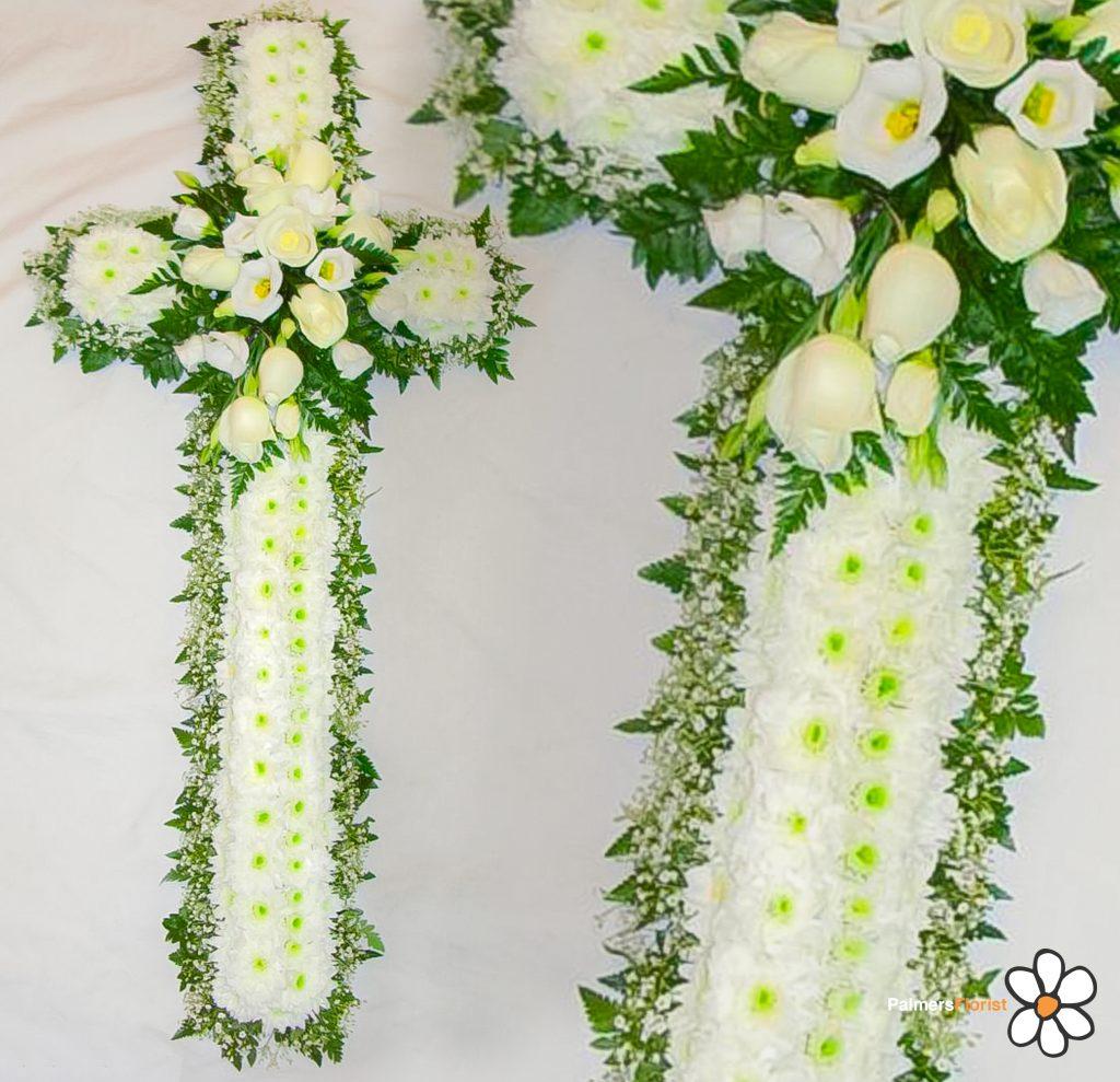 8 Cross Blocked White Gypsophila, Radcliffe Florist, Funerals