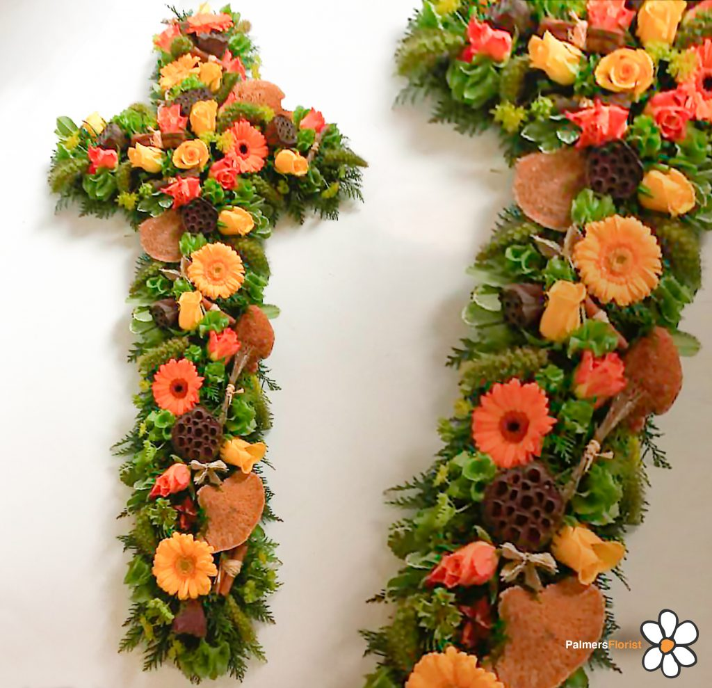 Loose Cross, Funeral, Oranges Yellows, Radcliffe Florist