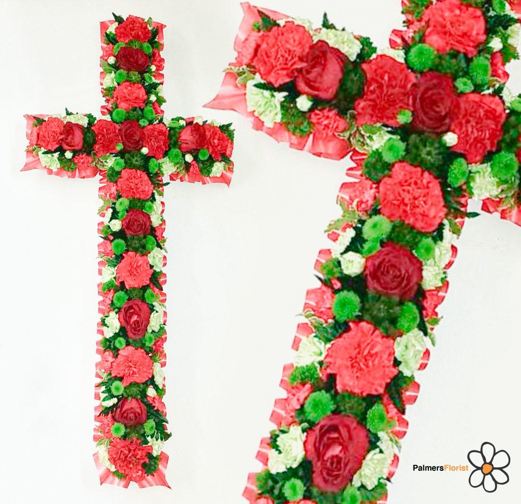 Loose Cross, Radcliffe Florist, Reds, Greens, Funeral