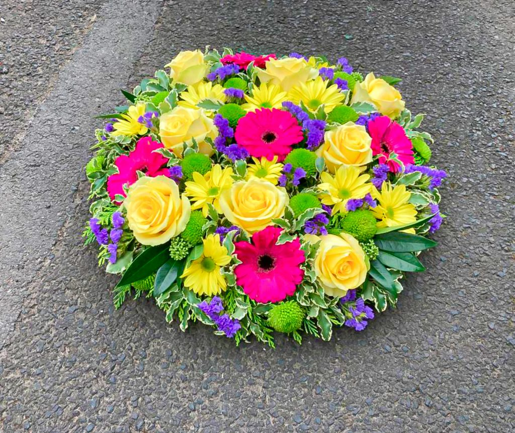 Loose Posy Pad Yellow Roses / Pink Gerbera's, Radcliffe Florist, Flowers