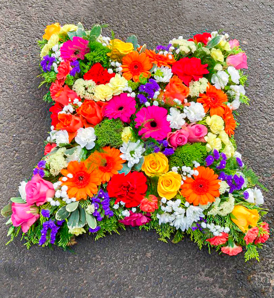 Loose Cushion Vibrant Colours, Funerals, Radcliffe Florist, Flowers