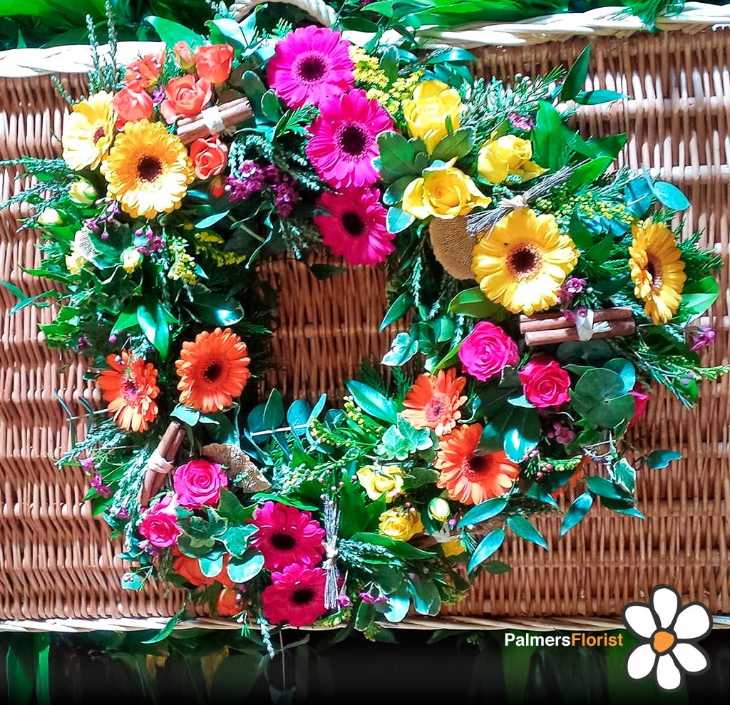 26 Loose Open Country Garden Heart Using Gerbera and Roses with Mixed Foliage