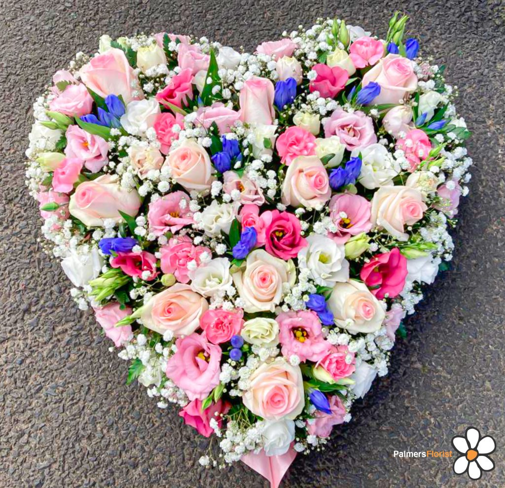 Loose Solid Heart in Pink, White and a Splash of Blue, Fresh Flowers