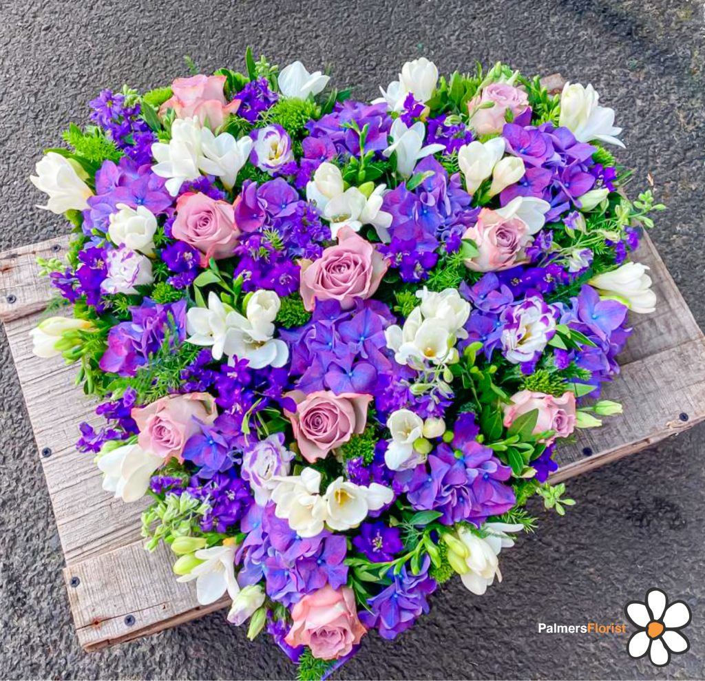 Loose Solid Heart, Purple, White Freesia, Radcliffe Florist