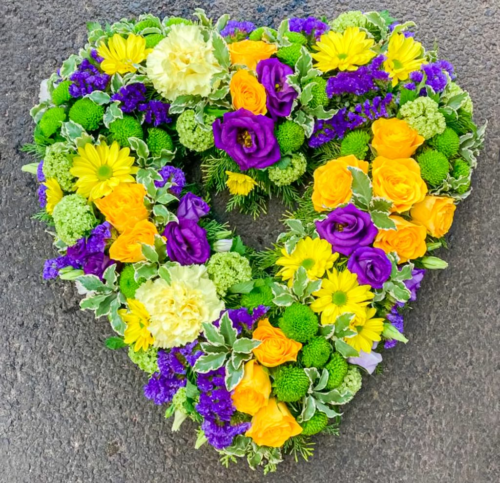 Loose Solid Heart Purple Yellow Green, Radcliffe Florist, Flowers