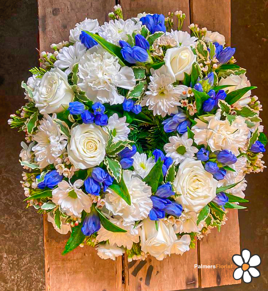 Loose Wreath, White Blue Gentians, Florist, Radcliffe, Flowers
