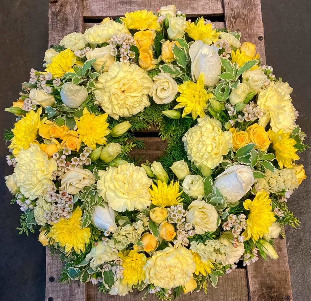 Loose Wreath Yellow and White, Funerals, Radcliffe Florist