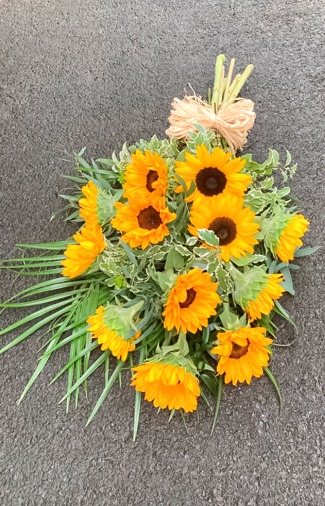 Open Spray,  Sun Flowers and Foliage, Radcliffe Florist, Fresh Flowers
