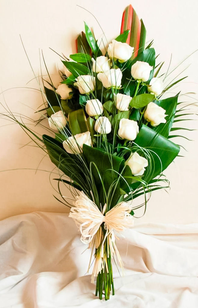Open Spray | White Roses with Mixed Foliage, Radcliffe Florist, Flowers