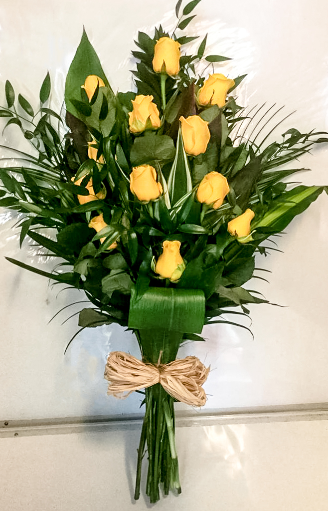 Open Spray, Yellow Roses Mixed Foliage, Florist, Radcliffe, Flowers