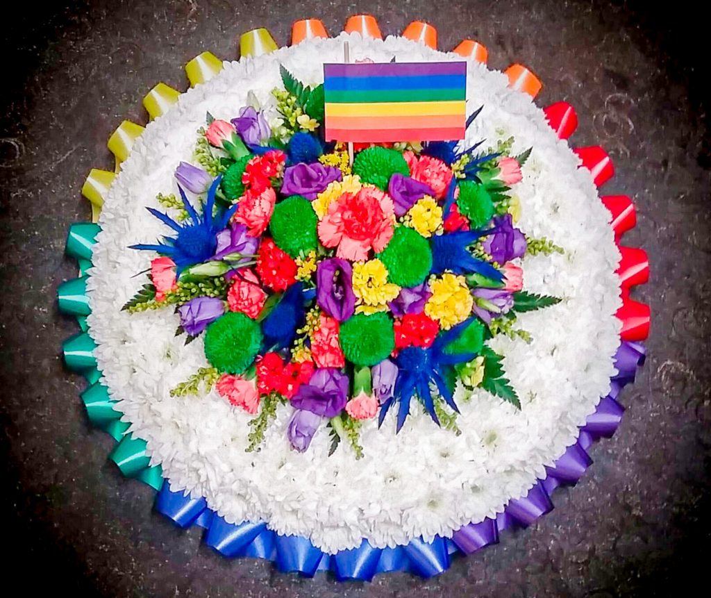 Rainbow Blocked Posy Pad, Radcliffe Florist, Flowers, Gay Pride