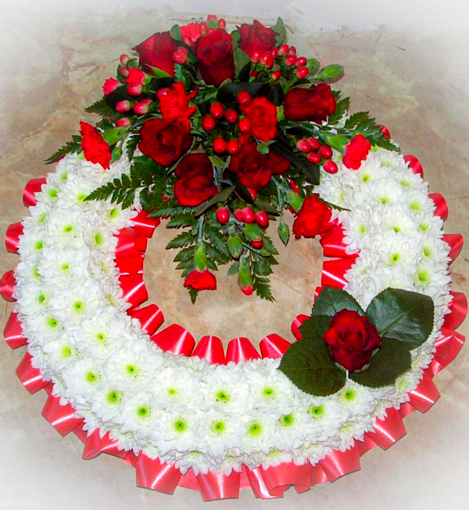 Wreath Blocked Red White Roses, Funerals, Radcliffe Florist