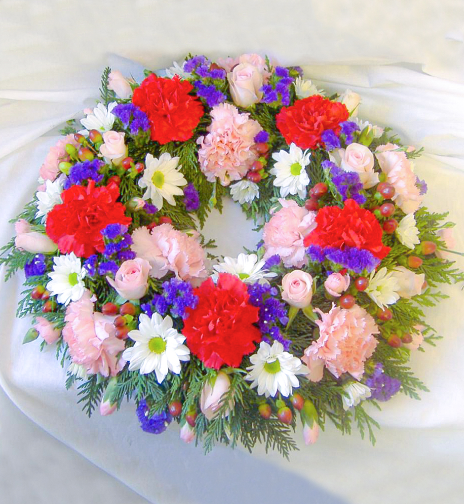 Wreath, Pink, White Purple, Cerise, Radcliffe Florist, Funerals
