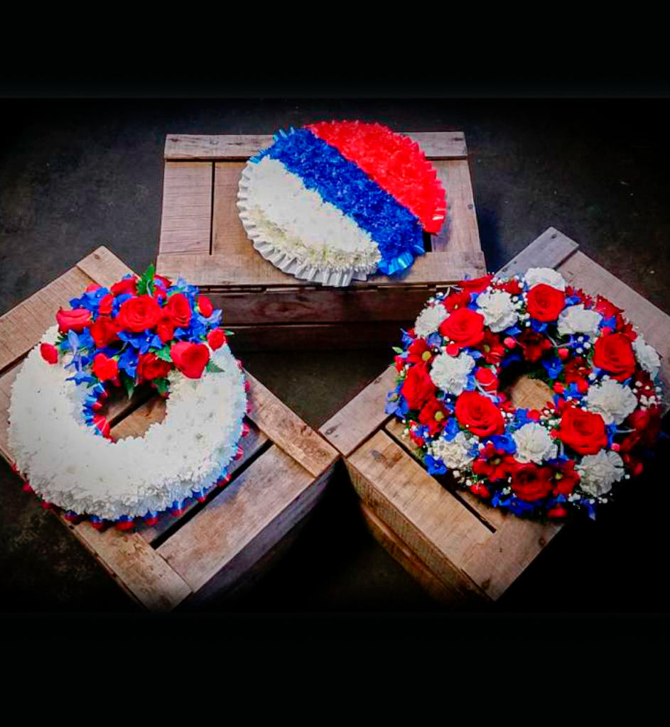 Wreath, 3 Designs, Red, White, Blue, Funeral, Radcliffe Florist