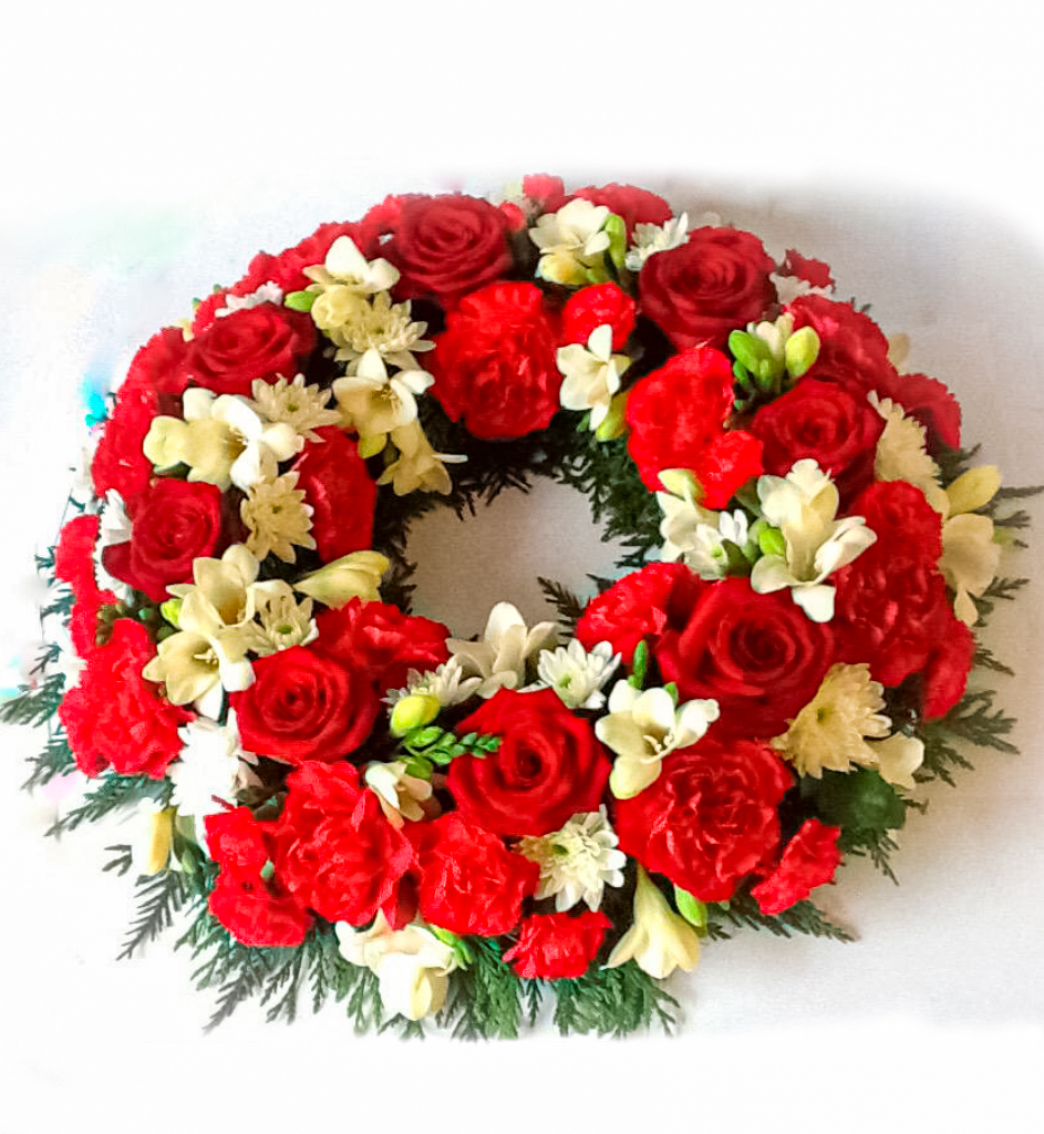 Wreath, Red Roses, White Freesia, Funeral, Radcliffe Florist