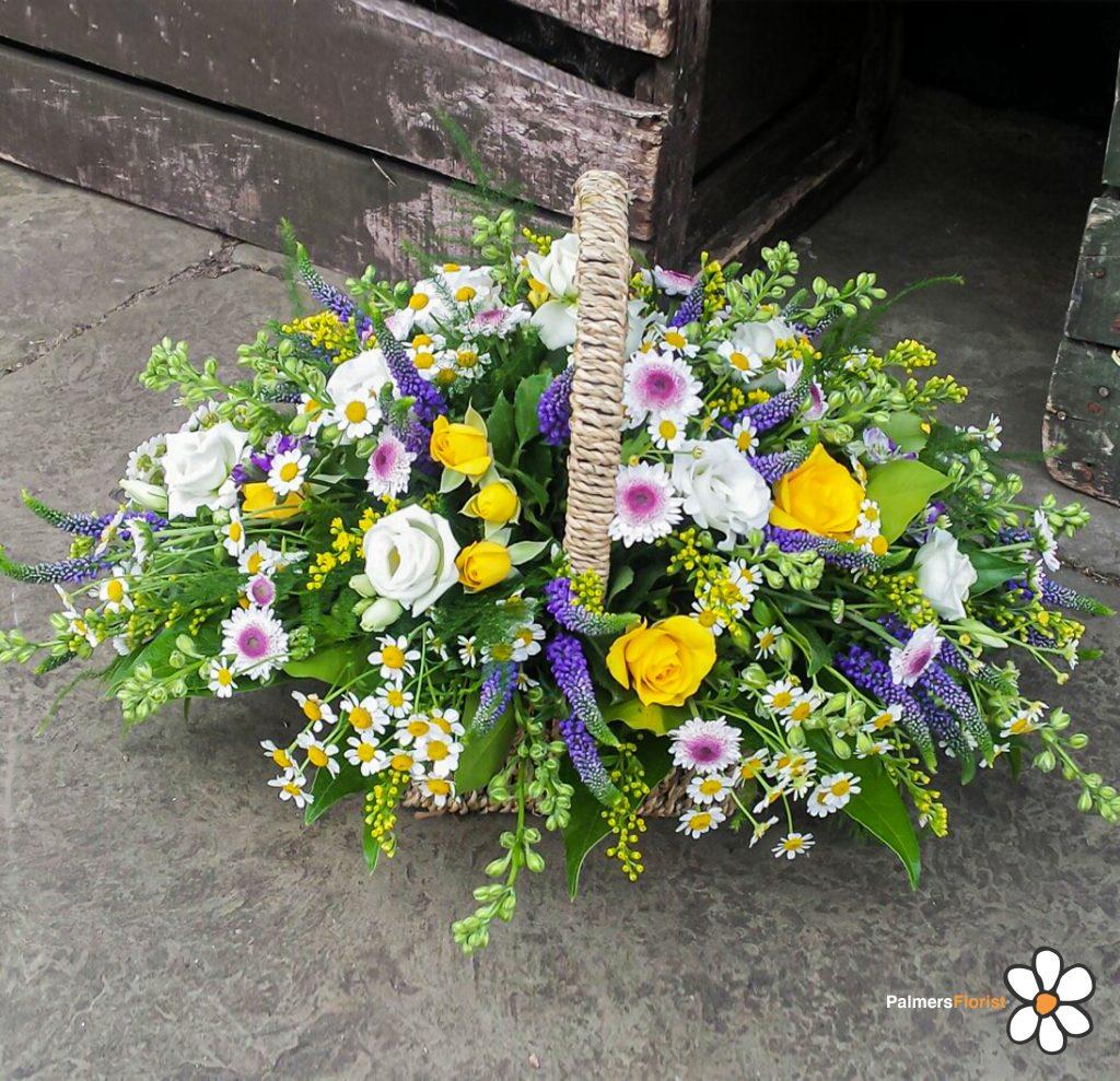 Baskets, Yellow, Purple, White, Radcliffe Florist