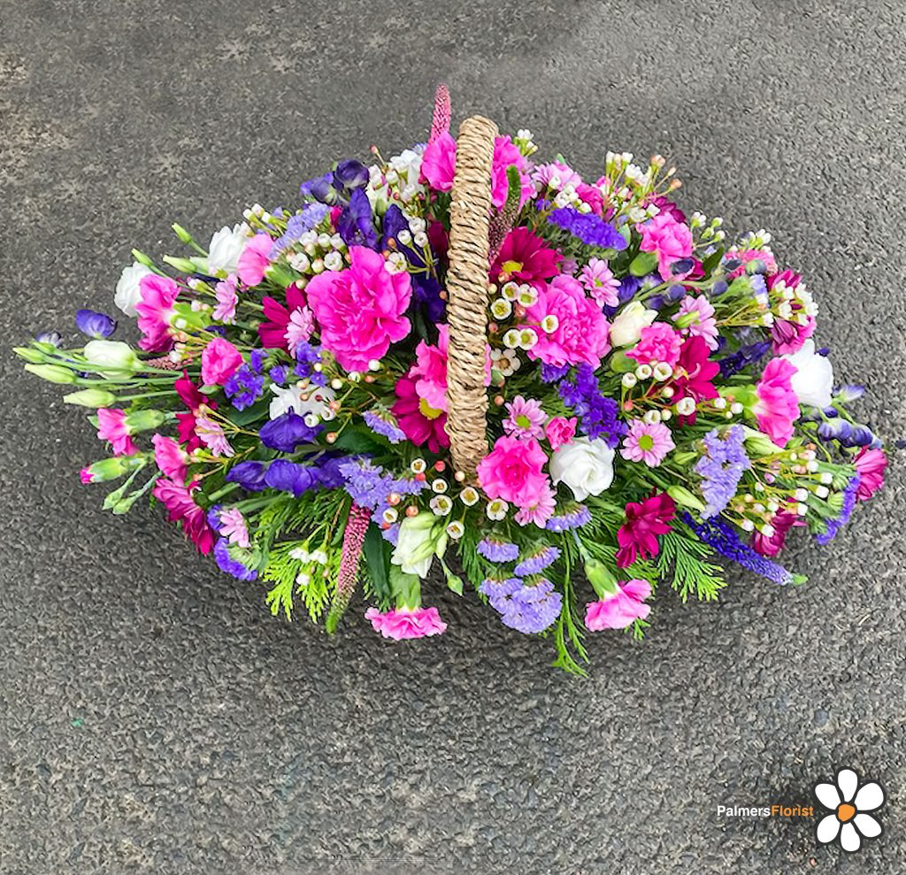 Baskets in Pinks Purple, Lilac, White, Radcliffe Florist