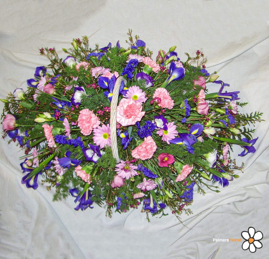 Baskets Gift in Pinks Purple, Lilac, White, Radcliffe Florist