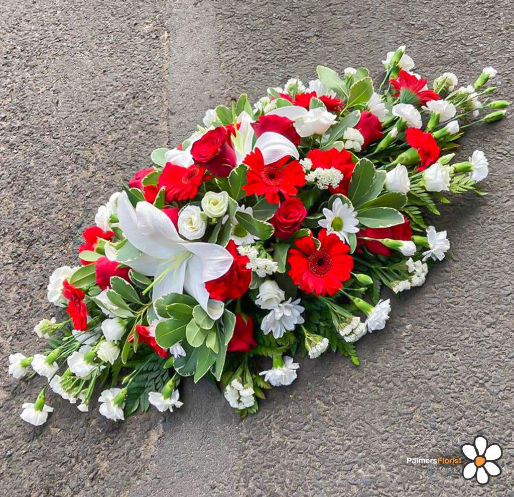 Coffin Spray, Bright Reds, Whites, Radcliffe Florist, Funerals