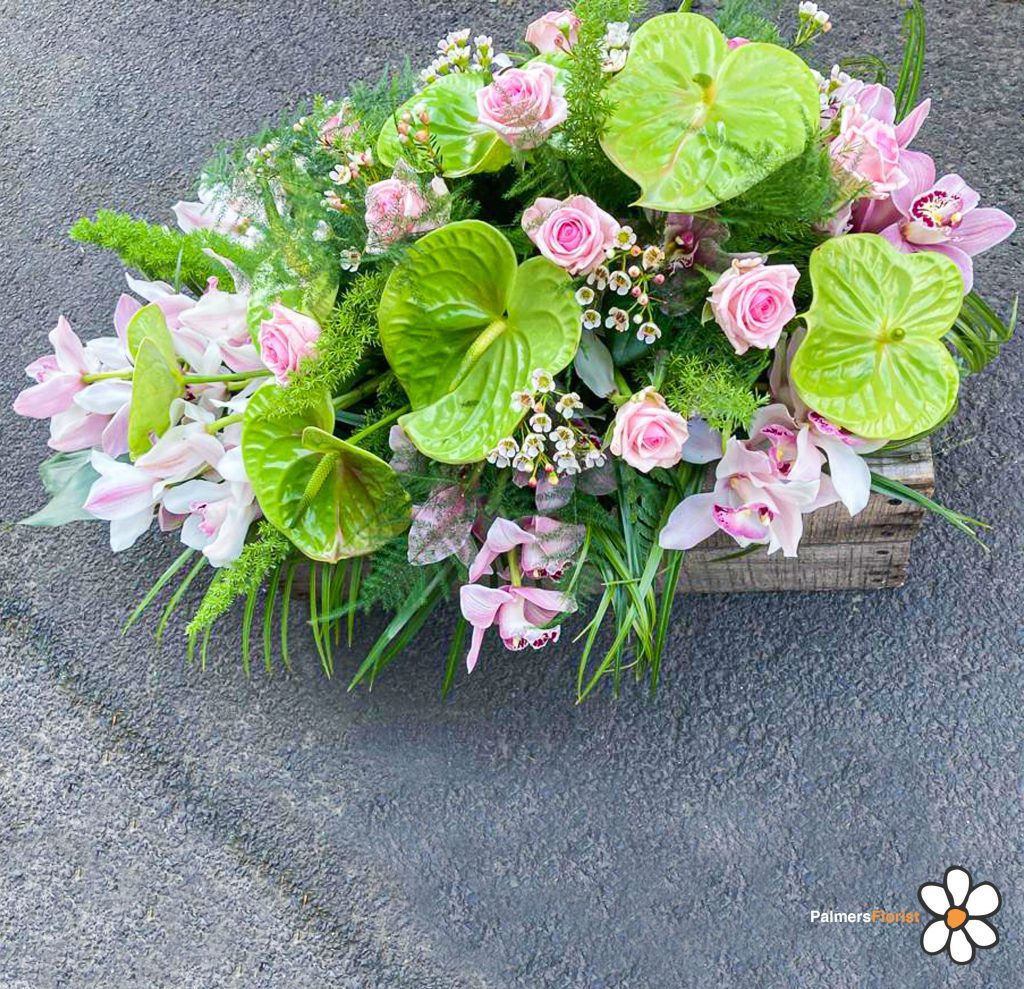 Oasis Spray, Pink Orchids and Roses with Green Anthuriums