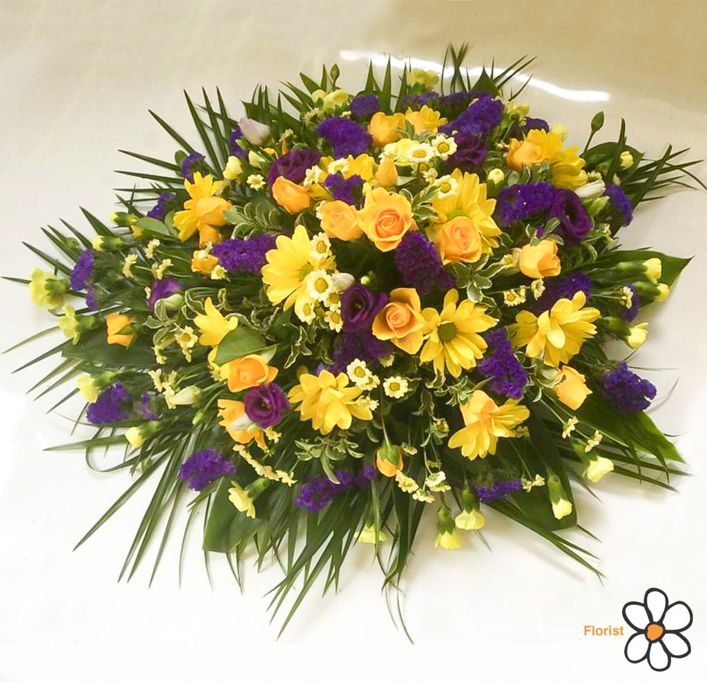Oasis Spray, Yellows, Purples, Radcliffe Florist, Funeral