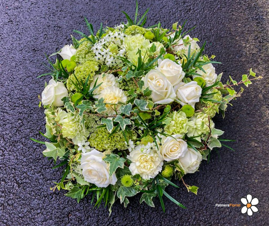 Posy Pad, White, Green, Mixed Foliage, Radcliffe Florist