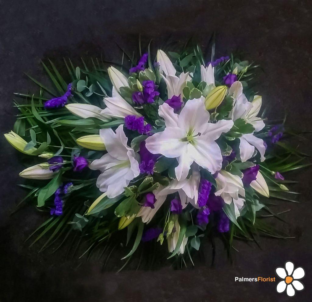 Oasis Sprays, White Lilies, Purple Flowers, Radcliffe Florist