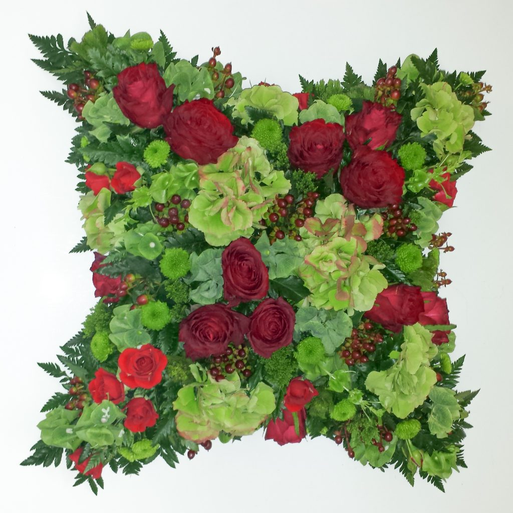 04 Loose Cushion Greens and Reds, Funerals, Radcliffe Florist, Flowers