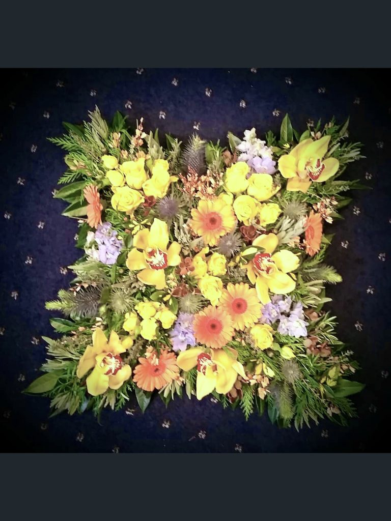 06 Loose Cushion, Oranges, Yellows, Fresh Flowers, Funeral
