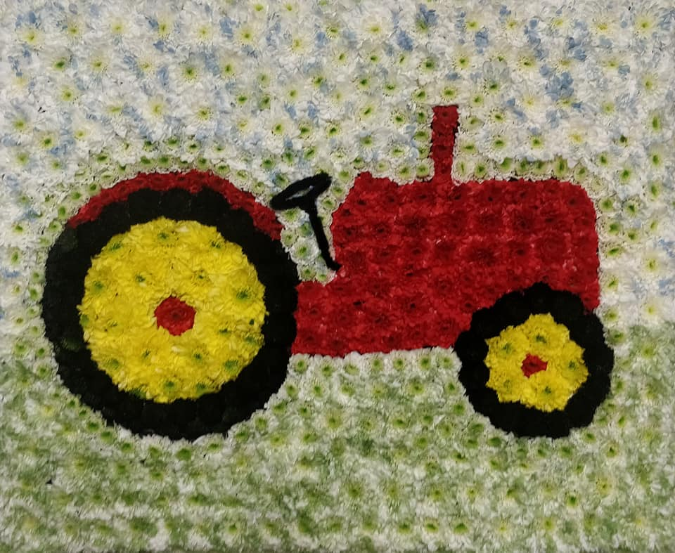Tractor, Funeral tribute, Flowers, Florist, Radcliffe, Bury