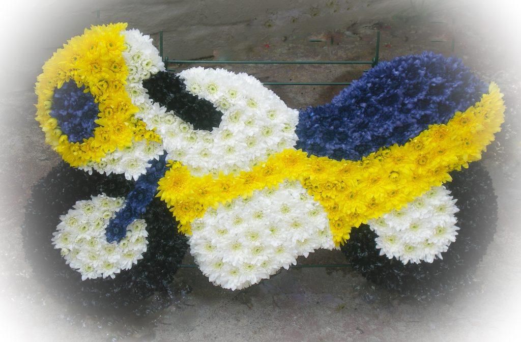 Motorbike, Funeral tribute, Flowers, Florist, Radcliffe, Bury