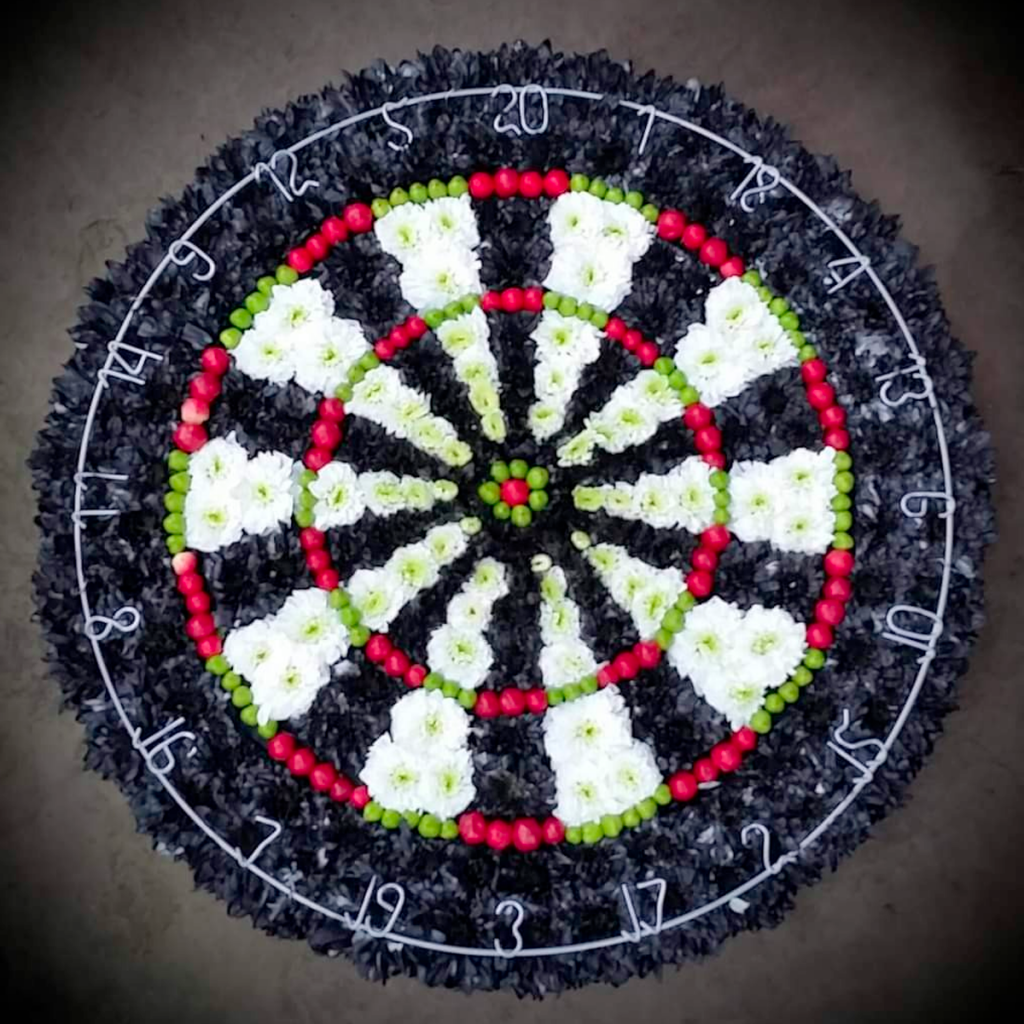 Dartboard, Funeral Tribute, Flowers, Florist, Radcliffe, Bury