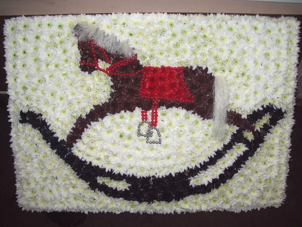 Funeral, Tribute, Rocking Horse, Flowers, Bury, Radcliffe