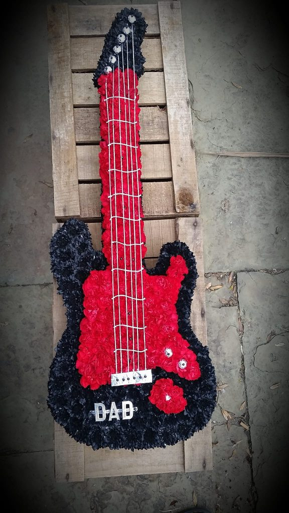 Electric guitar, tribute, funeral, Flowers, Radcliffe, Bury