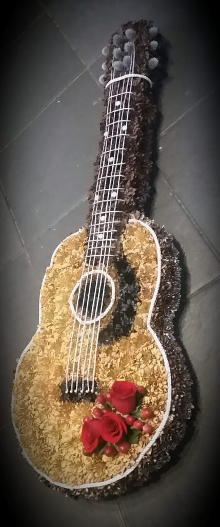 Acoustic guitar, tribute, funeral, Flowers, Radcliffe, Bury