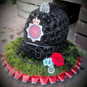 Police Helmet, Funeral Tribute, Flowers, Florist, Radcliffe, Bury